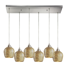 ELK Lighting 528-6RC-GLD - Fusion 6 Light Pendant In Satin Nickel And Gold