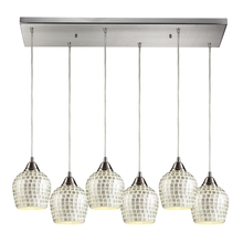 ELK Lighting 528-6RC-SLV - Fusion 6 Light Pendant In Satin Nickel And Silve