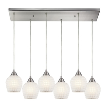 ELK Lighting 528-6RC-WHT - Fusion 6 Light Pendant In Satin Nickel And White